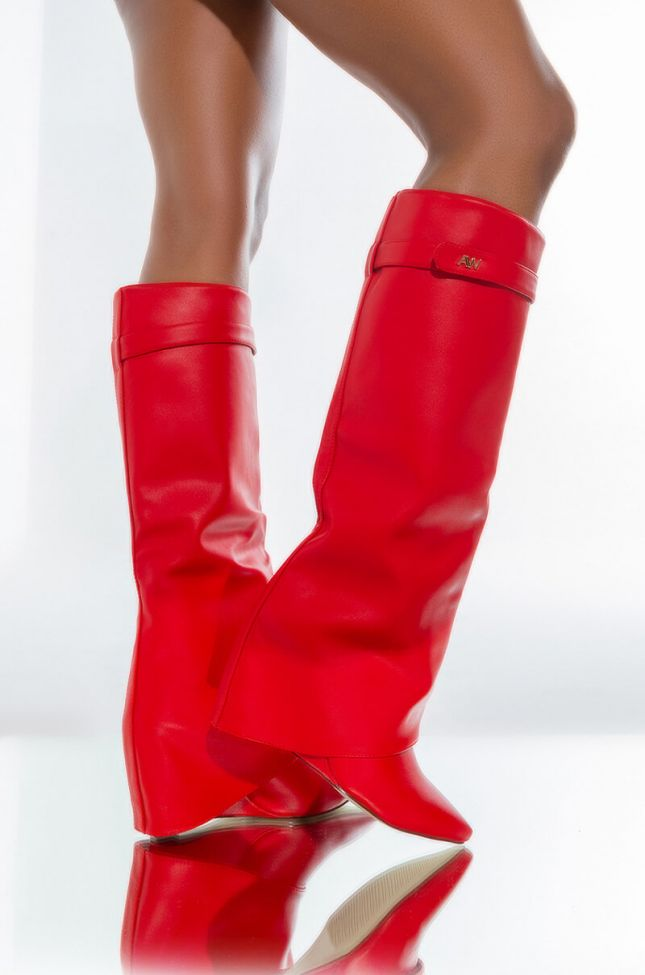 Front View Azalea Wang Stuck On You Wedge Boot In Red