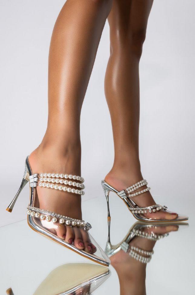 Front View Azalea Wang Sweet Like Candy Stiletto Pump In Silver in Silver