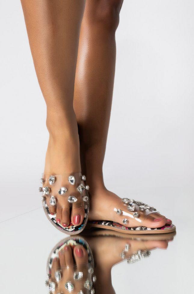 Front View Azalea Wang Sweet Like Honey Flat Sandal In Multi in Multi