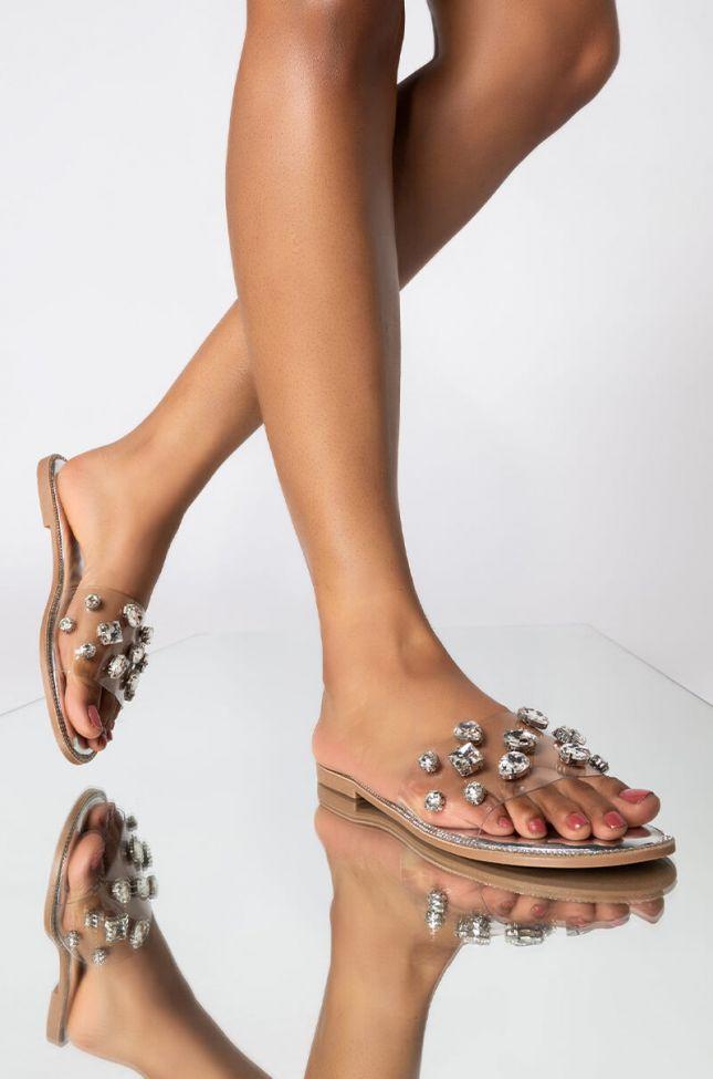 Front View Azalea Wang Sweet Like Honey Flat Sandal In Silver in Silver