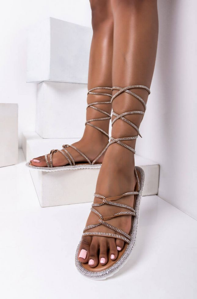 Front View Azalea Wang Switching Positions For You Flat Sandal In Nude in Nude