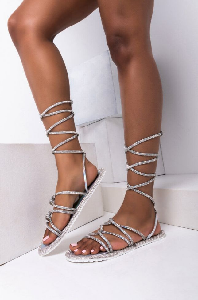 Front View Azalea Wang Switching Positions For You Flat Sandal In Silver in Silver