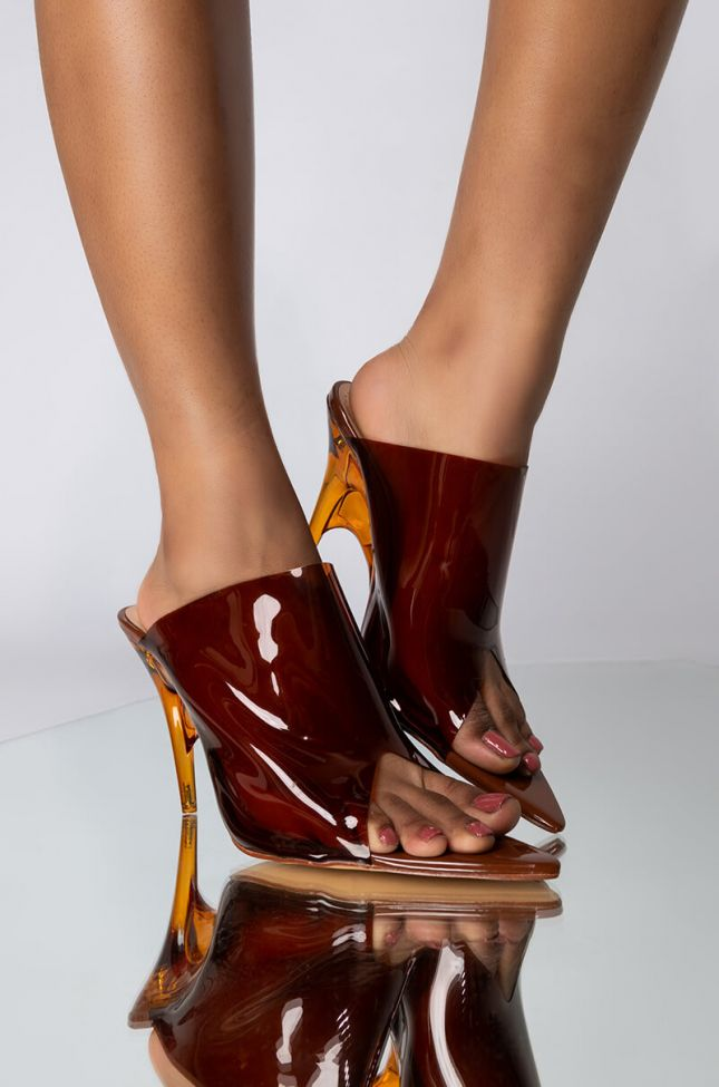 Front View Azalea Wang Switching Sides Pvc Perspex Wedge Heeled Mule in Caramel