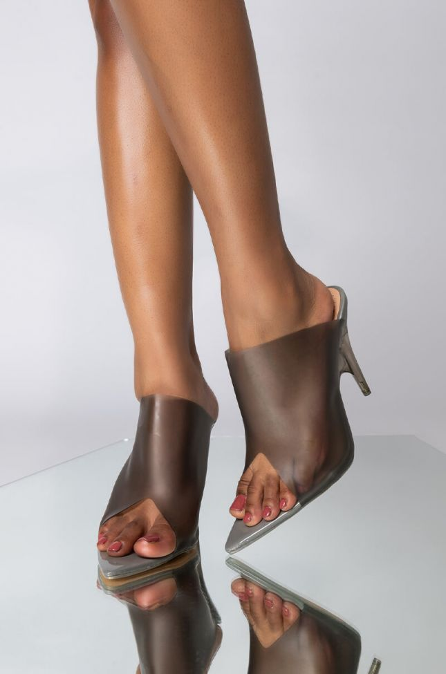 Front View Azalea Wang Switching Sides Pvc Perspex Wedge Heeled Mule in Grey