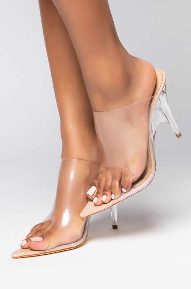 Front View Azalea Wang Switching Sides Pvc Perspex Wedge Heeled Mule in Nude Patent