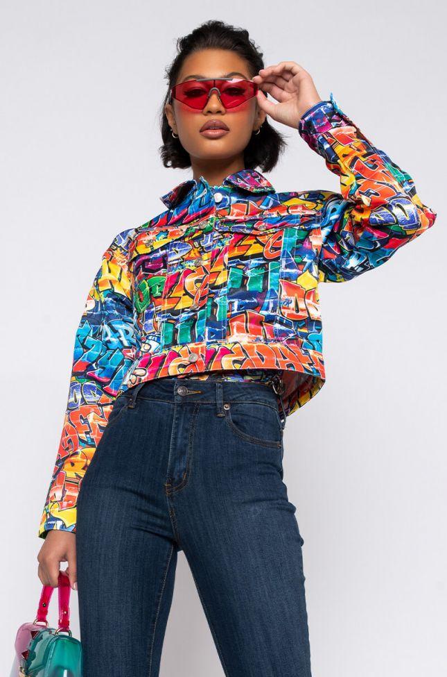 Front View Azalea Wang Tag Youre Art Graffiti Print Denim Jacket in Multi