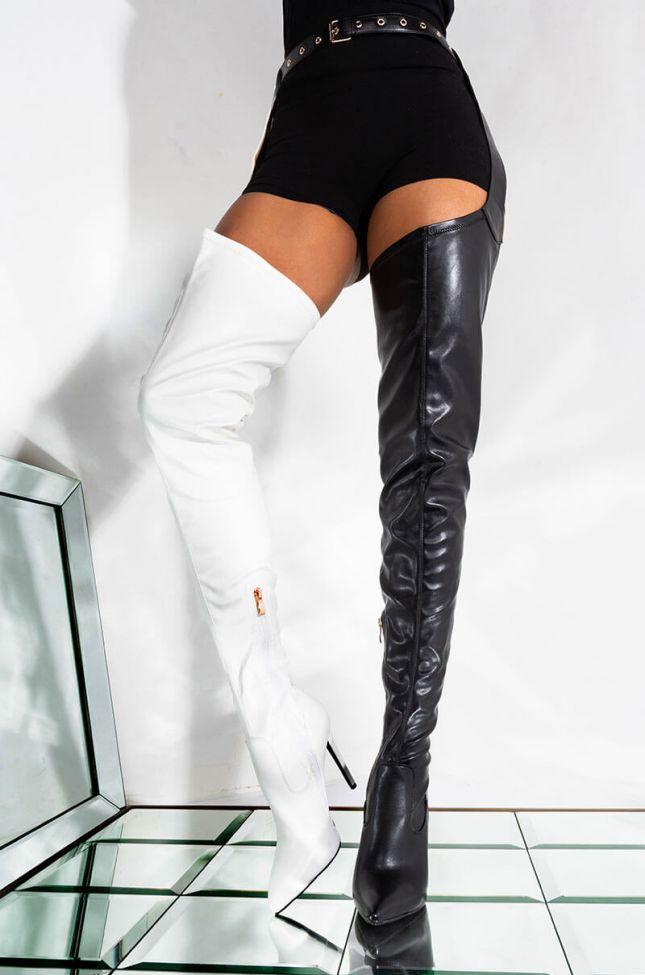 Front View Azalea Wang Take It Higher Stiletto Boot In Black White in Black White