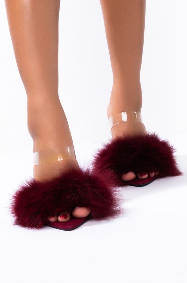 Back View Azalea Wang Take It Or Leave It Stiletto Heel Sandal In Burgundy in Burgundy
