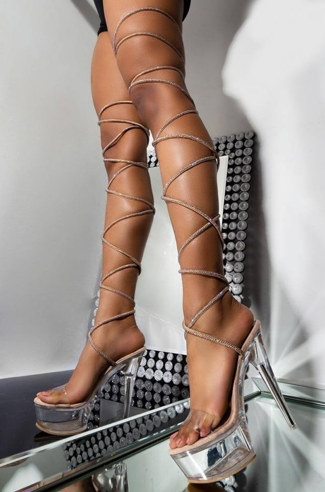 Front View Azalea Wang Take Me Far Away From Here Stiletto Sandal In Nude in Nude