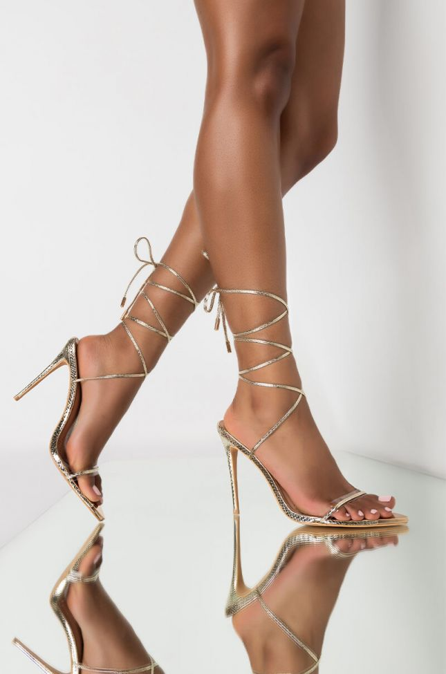 Front View Azalea Wang Take The Leap With Me Stiletto Sandal In Gold in Gold