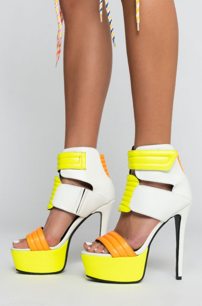 Side View Azalea Wang The Night Is Young Stiletto Sandal In Neon in Neon Yellow