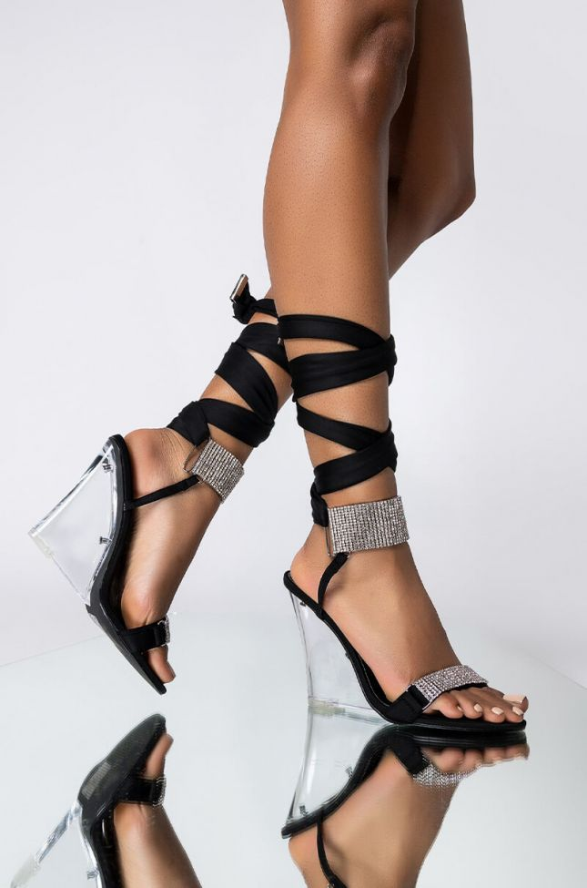 Front View Azalea Wang The One You Want Wedge Sandal In Black in Black