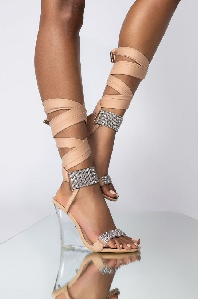 Front View Azalea Wang The One You Want Wedge Sandal In Taupe in Taupe