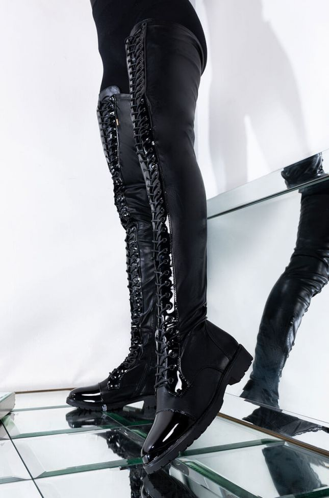 Front View Azalea Wang These Are My Only Intentions Thigh High Flat Boots in Black Pu