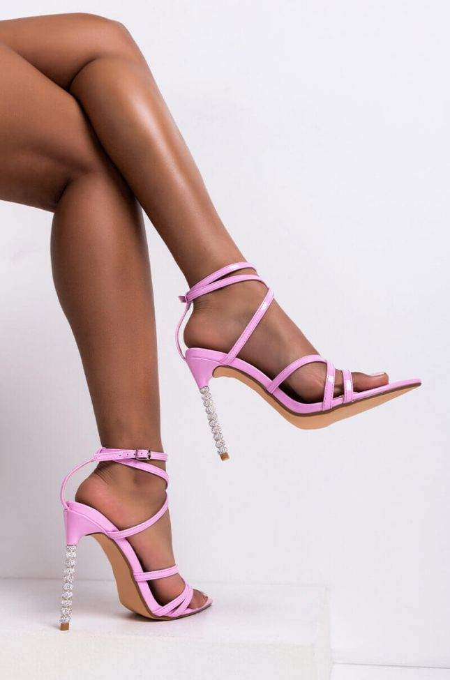 Front View Azalea Wang This Is Why Im Hot Stiletto Sandal In Pink in Pink Patent