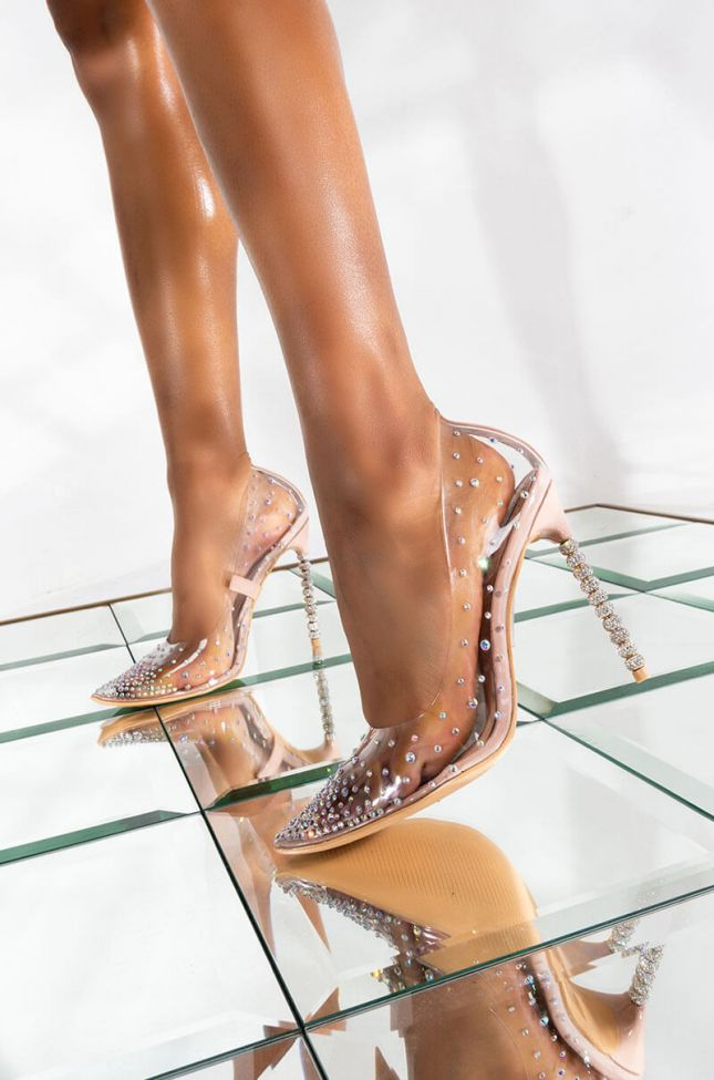 Front View Azalea Wang Time Is Money Stiletto Pump In Nude in Nude