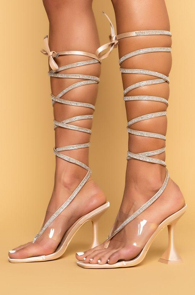 Side View Azalea Wang Tonight Is The Night Diamond Lace Up Sandal In Nude in Nude