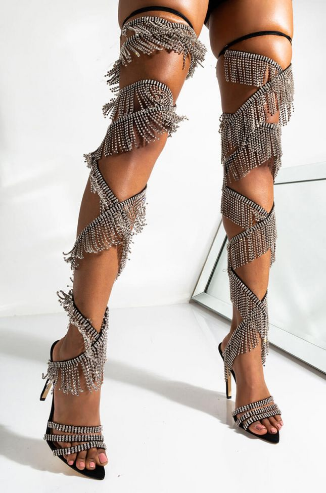 Front View Azalea Wang Turn Me On With A Just A Touch Diamond Stiletto Sandal in Black
