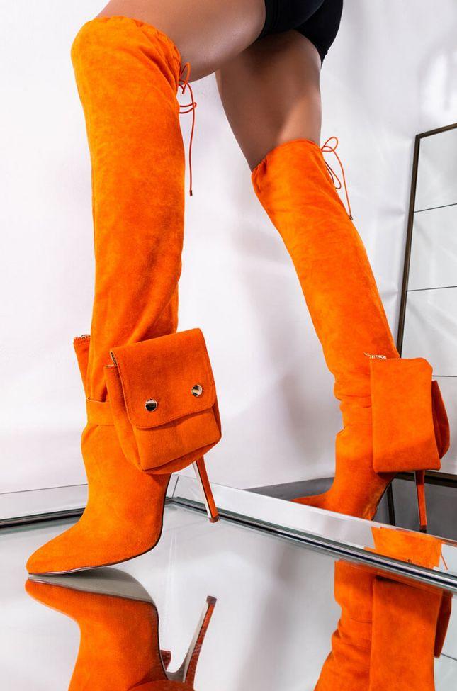 Front View Azalea Wang Two Pocket Stiletto Boot In Orange in Orange