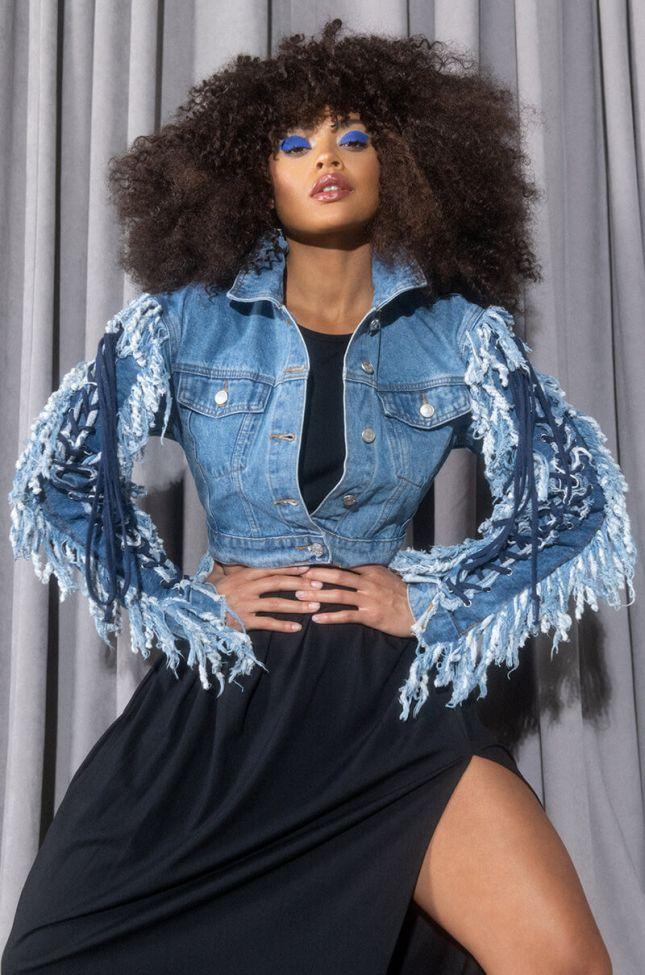 Side View Azalea Wang Two Step Lace Up Fringe Denim Jacket