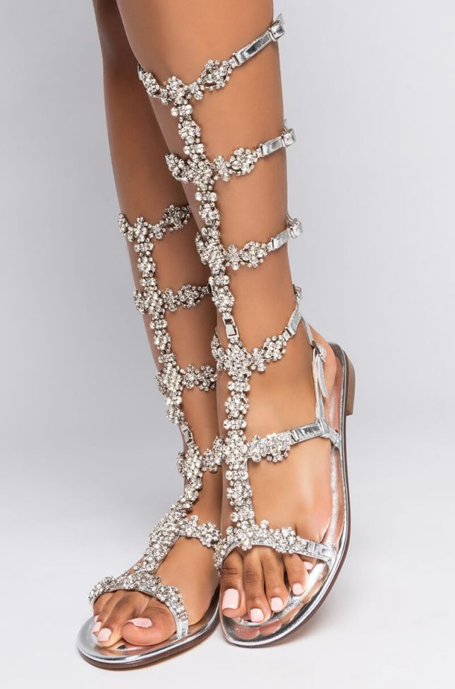 Front View Azalea Wang Up For The Fight Flat Sandal In Silver in Silver