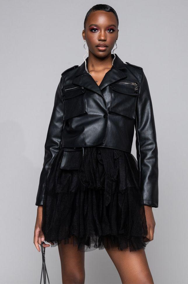 Side View Azalea Wang Utility Pleather Jacket in Black