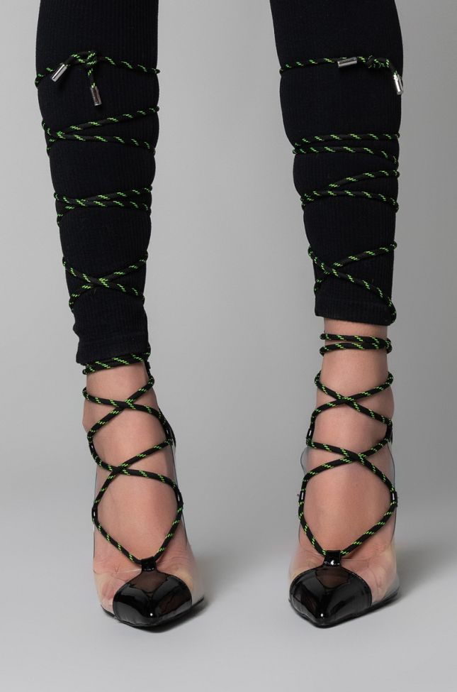 Side View Azalea Wang Venomous Lace Up Stiletto Pump In Black in Black
