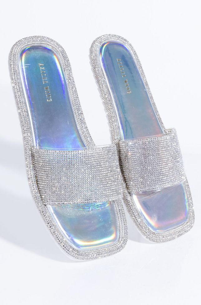 Front View Azalea Wang Wake Me When Its All Over Flat Sandal In Hologram in Hologram