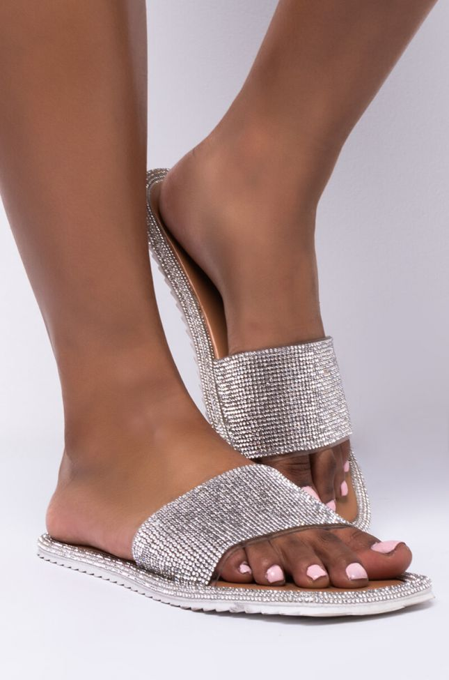 Side View Azalea Wang Wake Me When Its All Over Flat Sandal In Nude in Nude