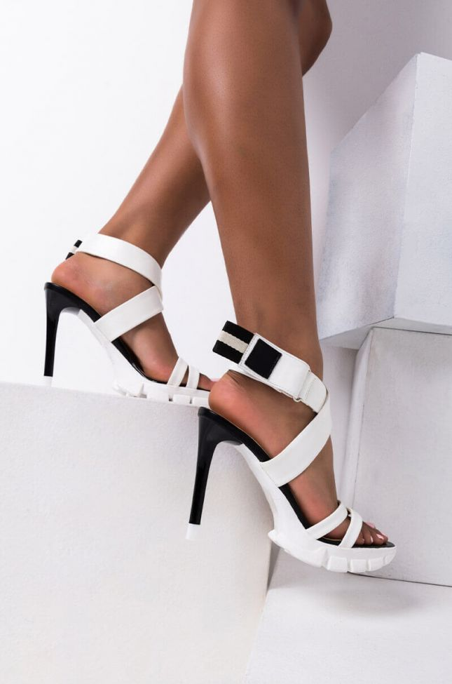 Front View Azalea Wang Watch The Mood Stiletto Sandal In White in White