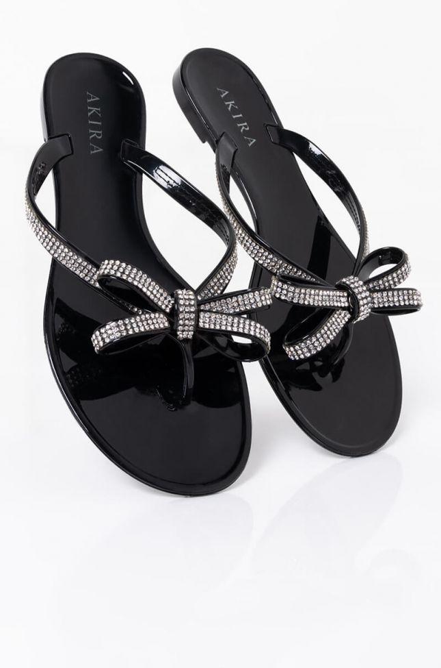 Full View Azalea Wang We Aint Done Flat Sandal In Black in Black