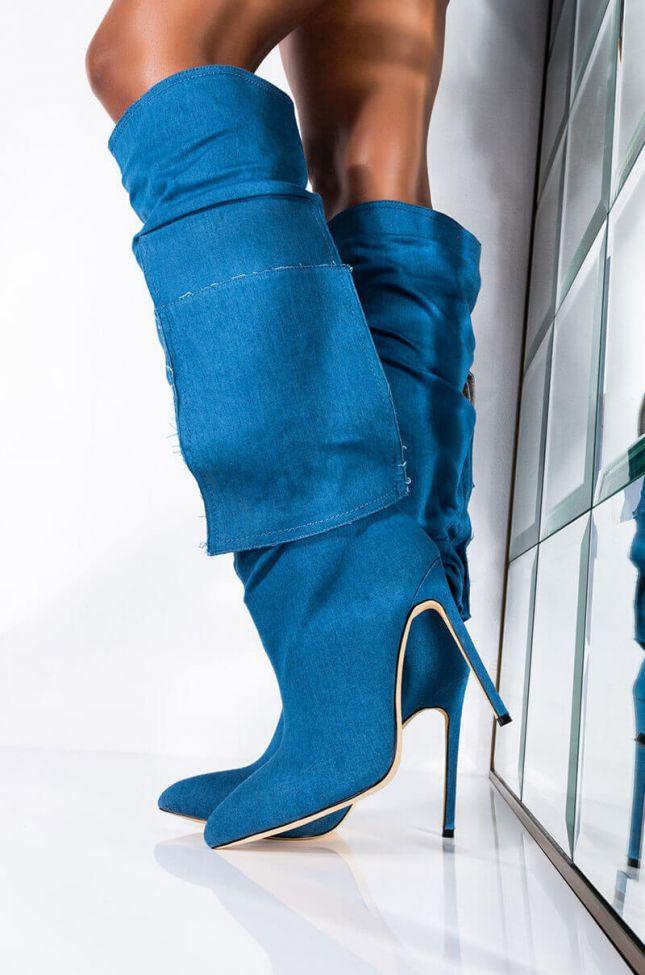 Front View Azalea Wang Whats In Your Pocket Stiletto Boot In Denim in Denim
