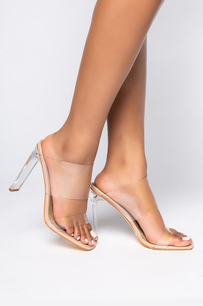 Side View Azalea Wang Will You Accept This Rose Chunky Sandal in Nude Patent