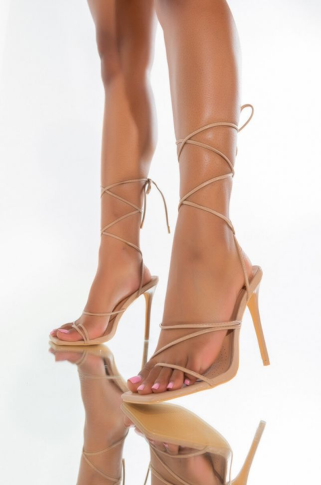 Front View Azalea Wang Windy City Stiletto Sandal In Nude