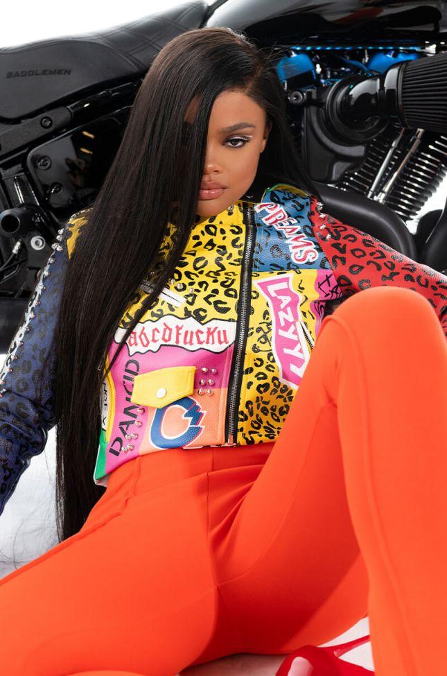 Front View Azalea Wang Wonka Colors Moto Jacket