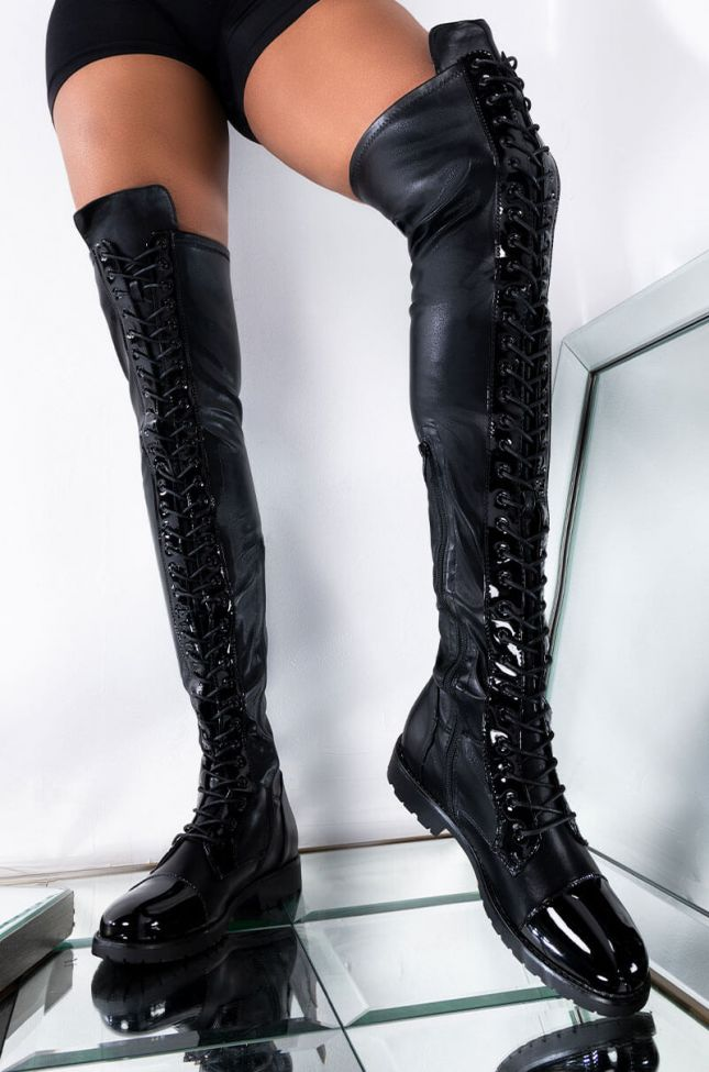 Front View Azalea Wang Workin Day And Night Flat Over The Knee Lace Up Boot in Black Pu