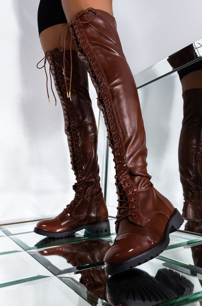 Front View Azalea Wang Working Day And Night Flat Lace Up Boot In Brown in Brown