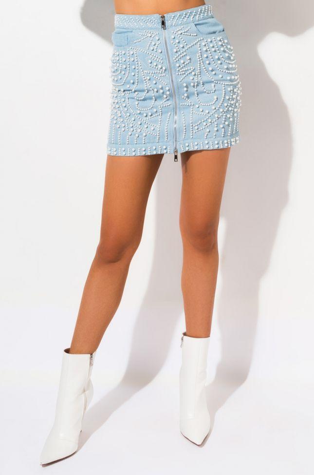 Front View Azalea Wang Yee Haw Pearl Rhinestone Skirt in Light Blue Denim