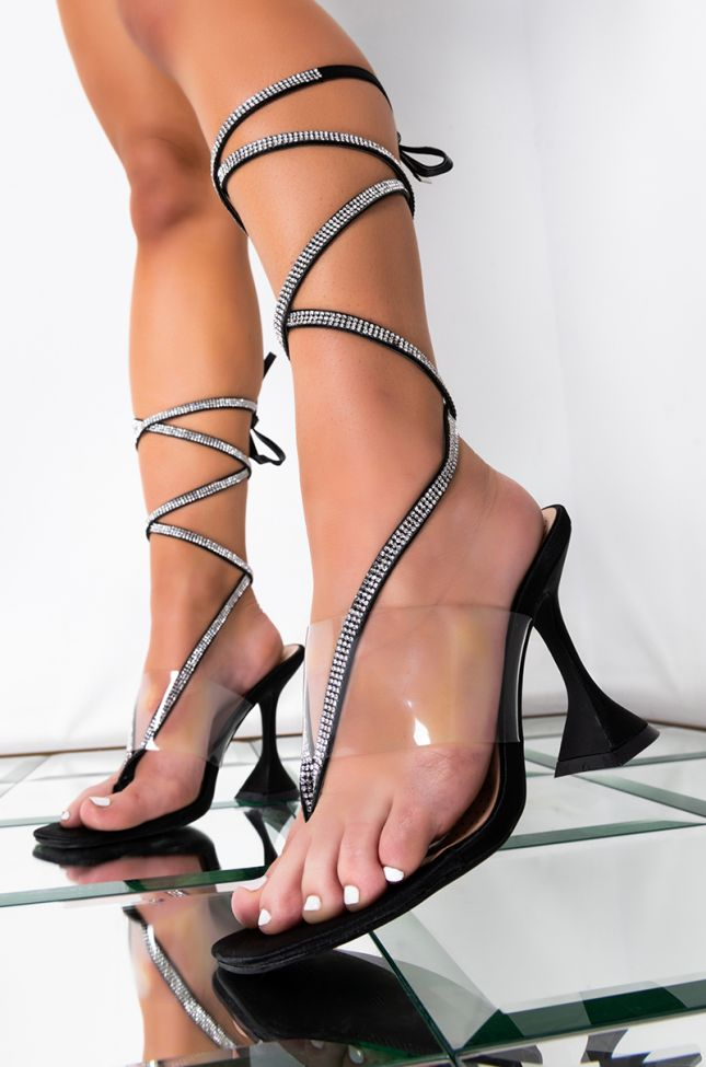 Front View Azalea Wang You Know The Vibez Diamond Lace Up Sandal In Black in Black