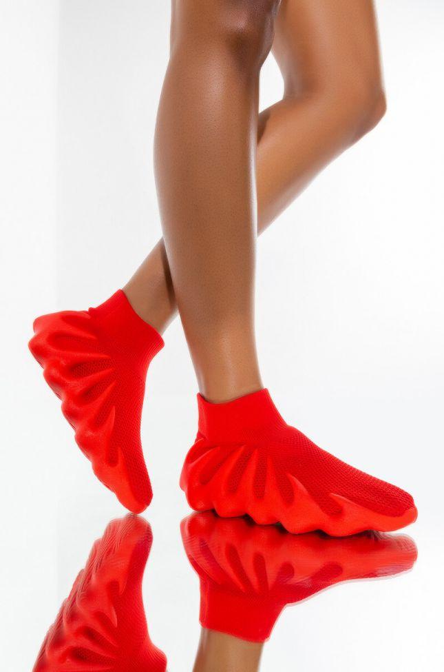 AZALEA WANG YOU NAME IT FLATFORM SNEAKER IN RED