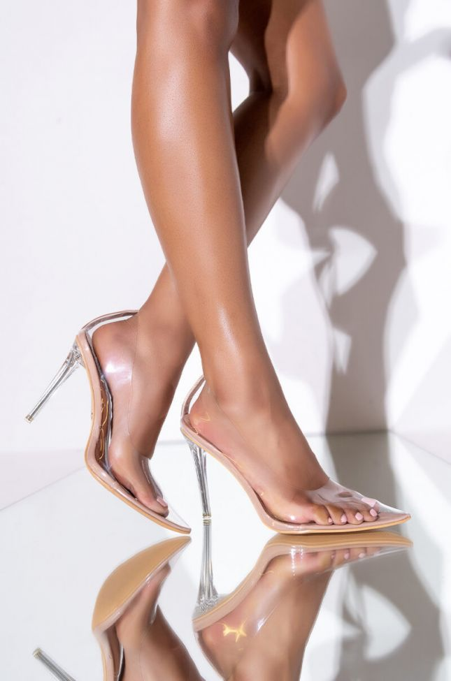 Front View Azalea Wang You Need Me Stiletto Pump In Nude in Nude