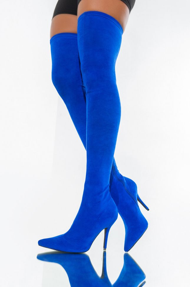 Front View Azalea Wang Your Friends Are Taking You Out Sexy Thigh High Heel Suede Boot In Cobalt