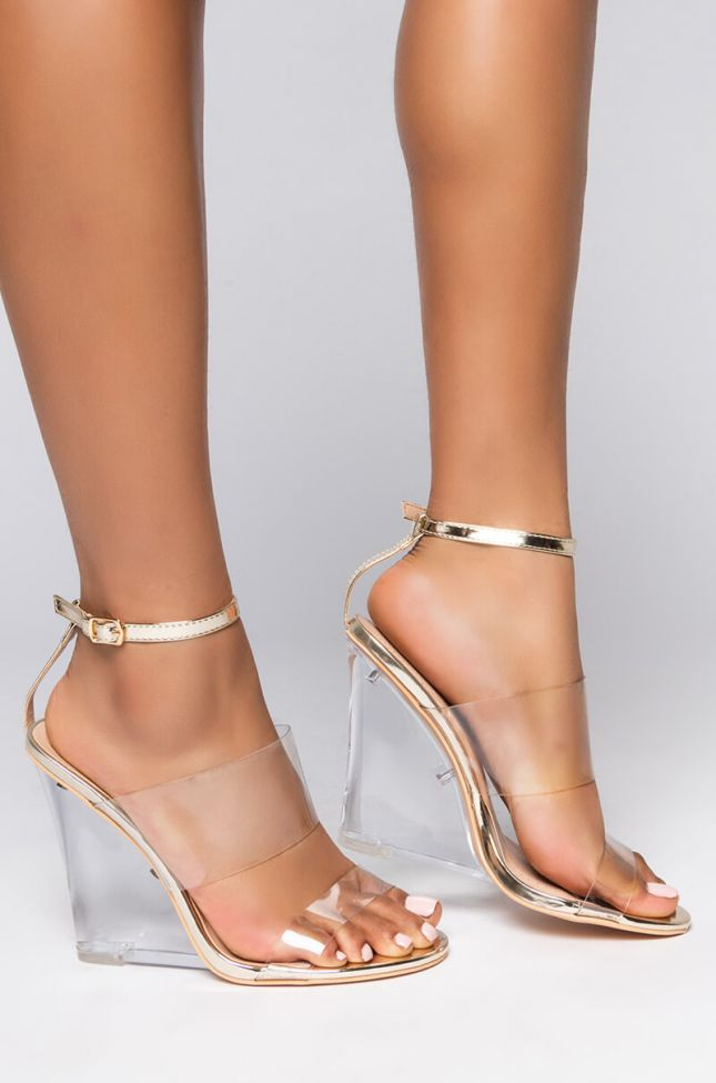 Front View Azalea Wang Your Money Is My Money Wedge Sandal In Gold in Gold Patent
