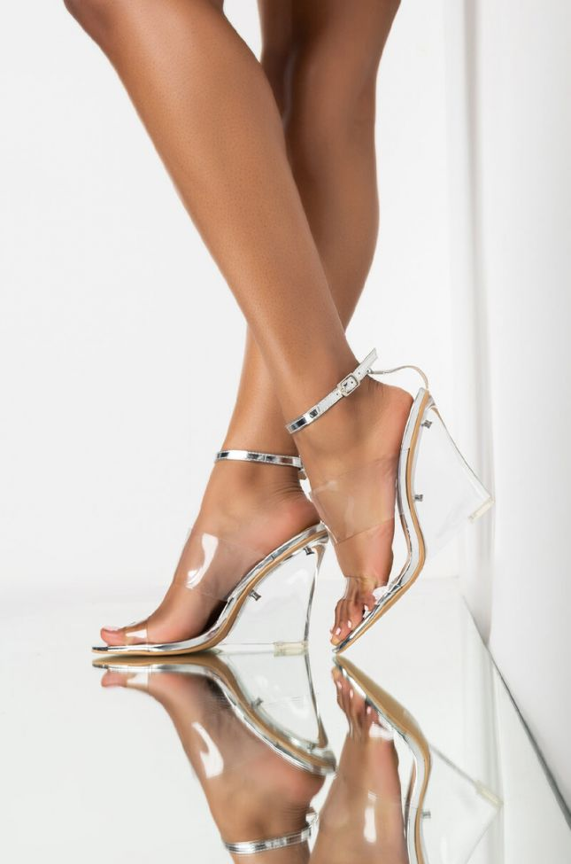 Front View Azalea Wang Your Money Is My Money Wedge Sandal In Silver in Silver