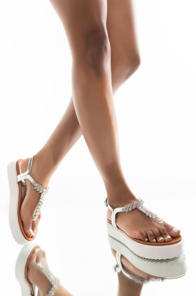 Front View Azalea Wang Youre The One I Dream Of Flatform Sandal In Silver