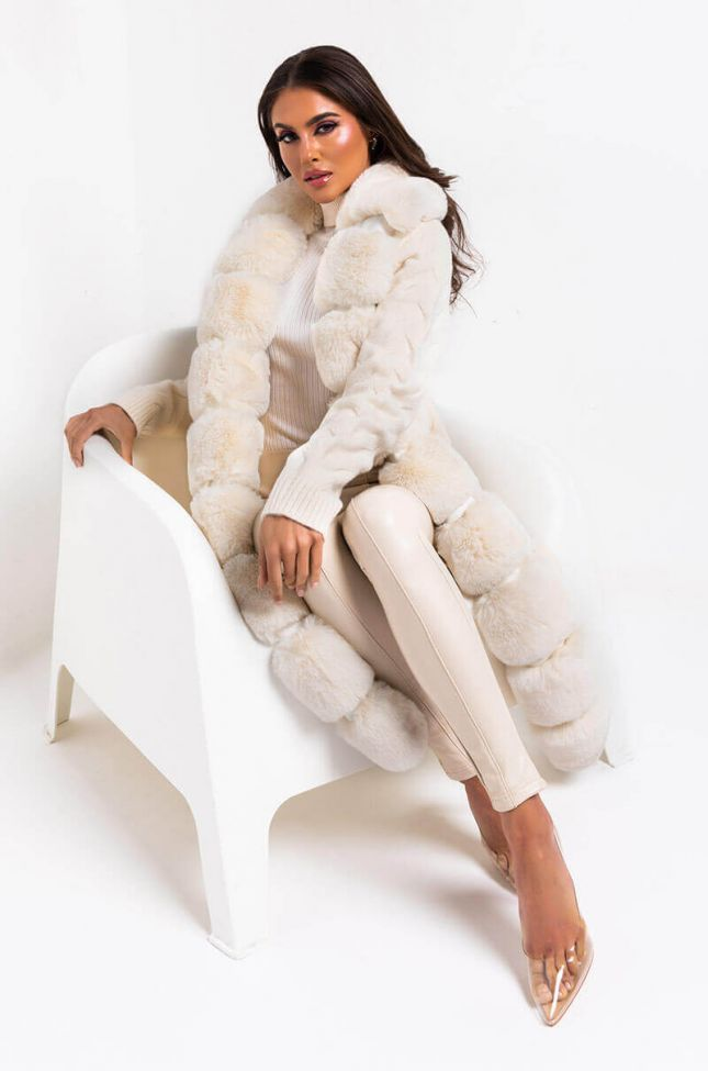 Side View Babbs Knit Trench With Faux Fur Lining in Beige