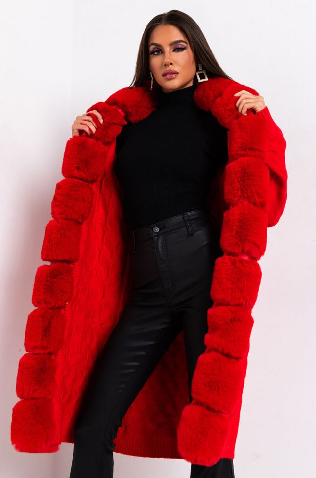 Front View Babbs Knit Trench With Faux Fur Lining in Red