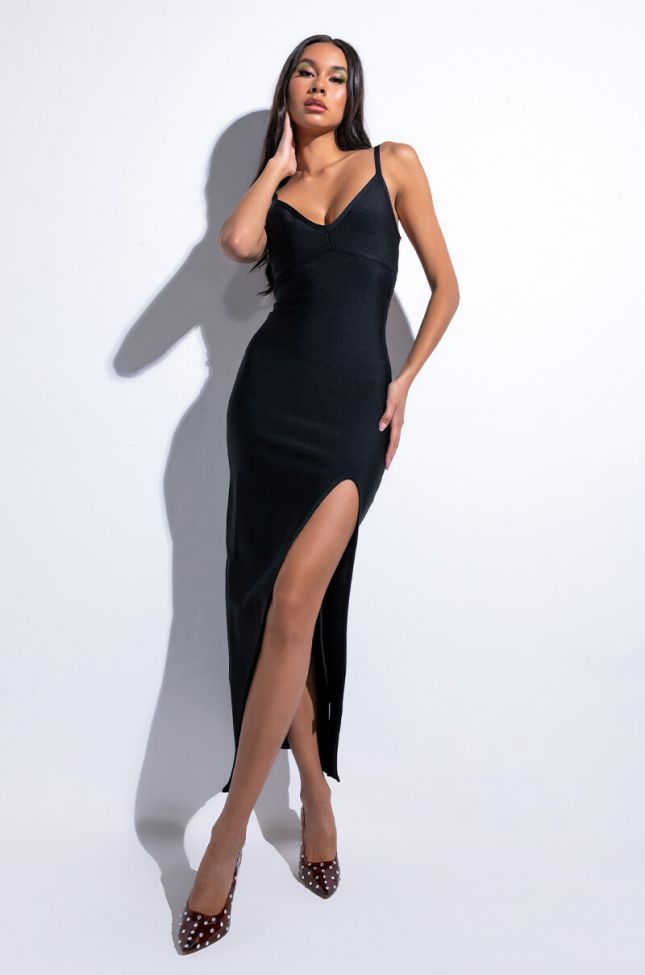 Front View Babe Watch Maxi Bandage Dress With High Slit