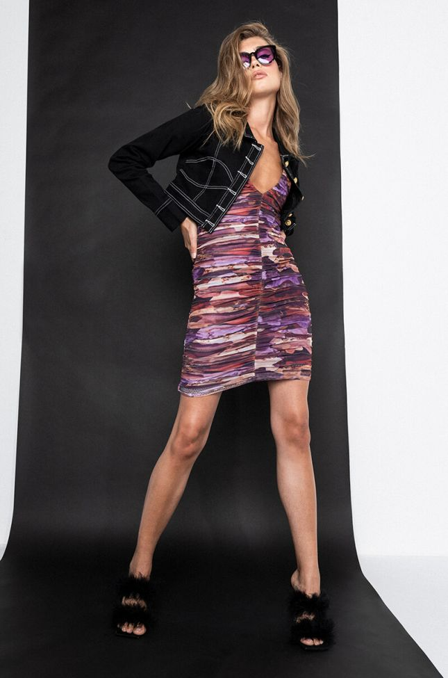 Babes Only Ruched Dress in Purple Multi