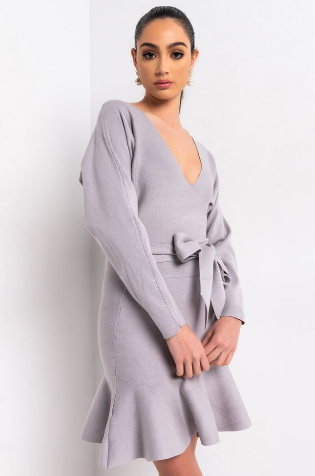 Front View Baby Come Back Long Sleeve Tie Midi Dress in Grey